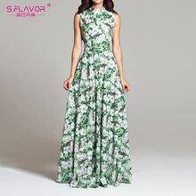 S. Lezzet kadın çiçek baskı Maxi elbise zarif O boyun kolsuz bohem uzun elbise kadın kolsuz plaj Vestidos De