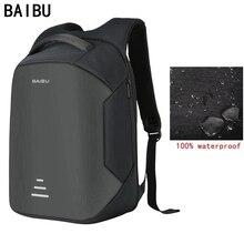 Новый мужской рюкзак от BAIBU для ноутбука 15,6 дюймов, рюкзак-антивор с функцией подзарядки через USB, женская школьная сумка для ноутбука, водонепроницаемый дорожный рюкзак из оксфорда
