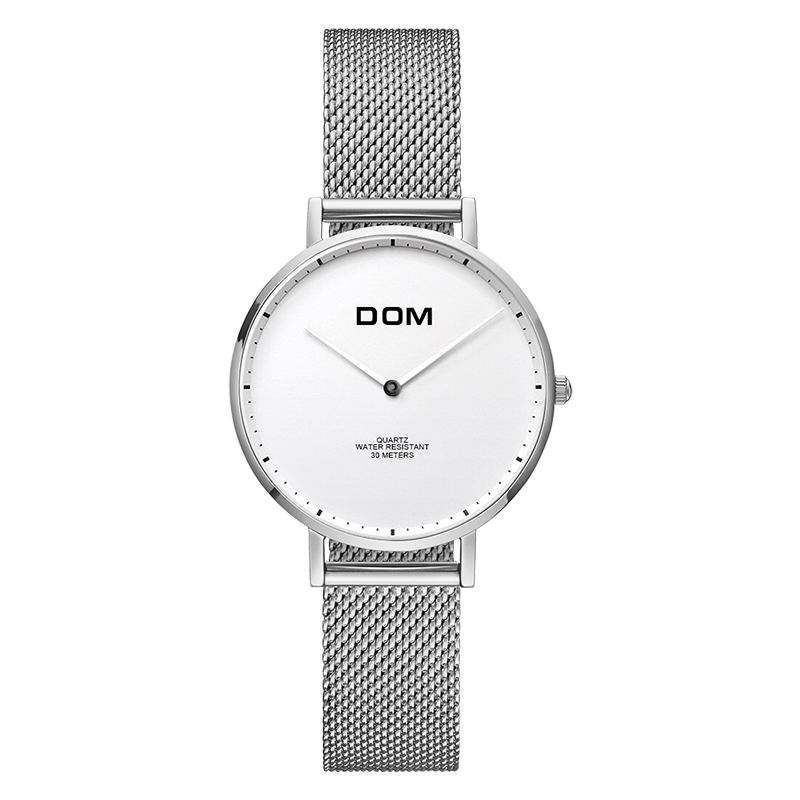 DOM Women Watches DOM Brand Luxury New Casual Waterproof Leather Dress Quartz-Watch Mesh Strap Clock Relogio Faminino G-36GK-1MS