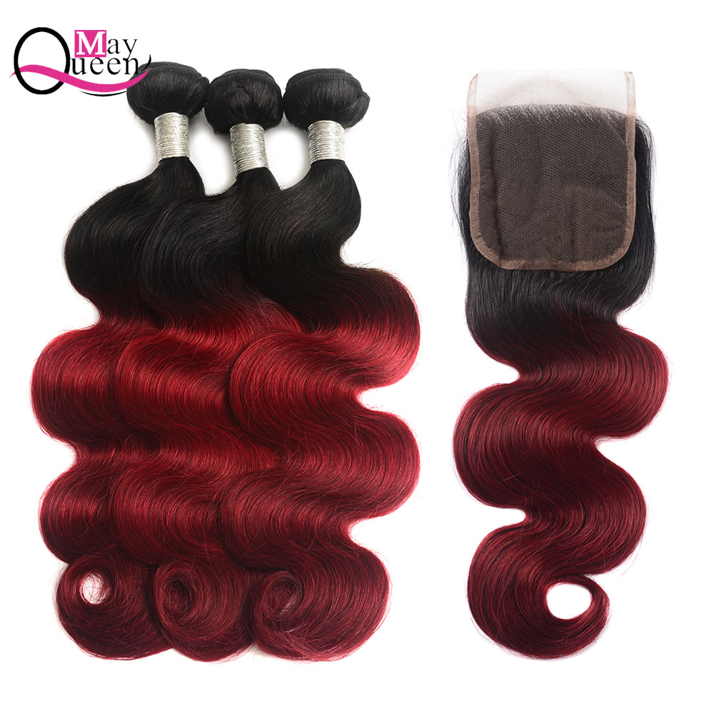 Spirited May Queen Hair Ombre 1b/burgundy Brazilian Body Wave Human Hair Weave Bundles With Lace Closure Remy Hair Extensions 1b/99j Hair Extensions & Wigs