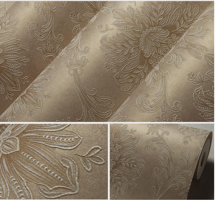 Luxuoso papel de parede Damasco Europeia Bronze