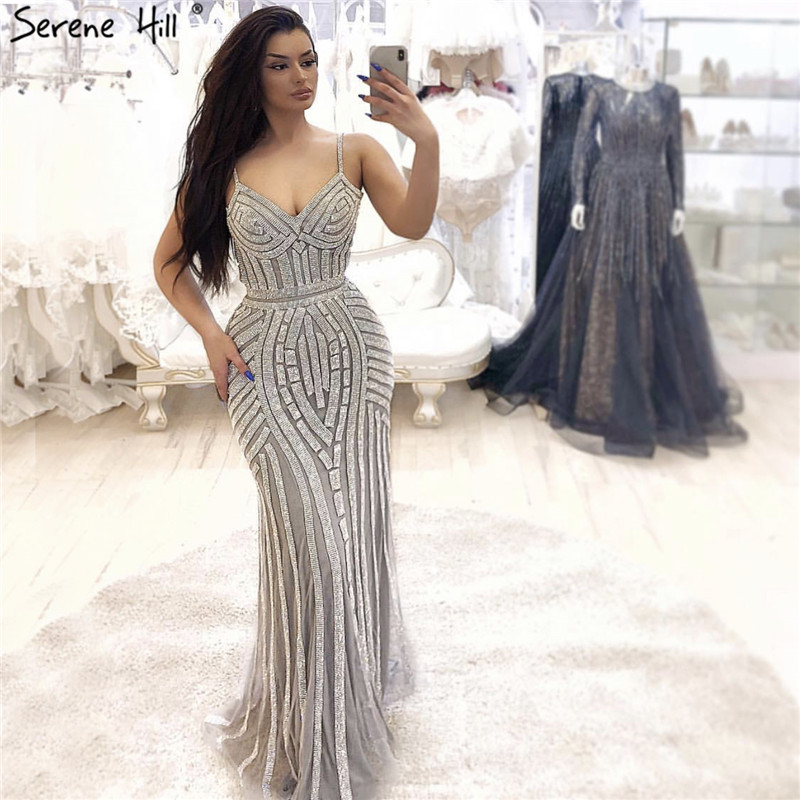 2019 Grey Sliver Backless Sexy Prom Dresses Sleeveless Full Diamond Luxury Party Evening Gowns Real Photo LA6002
