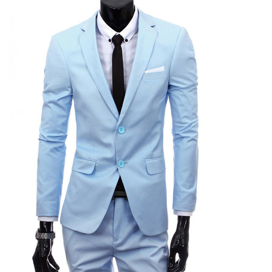 New Men Suits Two Buckle custom Suits Jacket Formal Dress Set Men ...