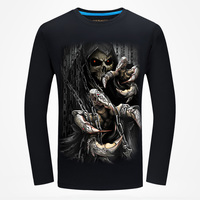 New Arrival 2017 Men S 3d Skull Print Punisher T Shirts Spring Fashion Long Sleeve Big