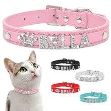 Collar de gato personalizado con diamantes de imitación para cachorros y perros pequeños, collares personalizados para Chihuahua Yorkshire, accesorios para gatos con nombre gratuito