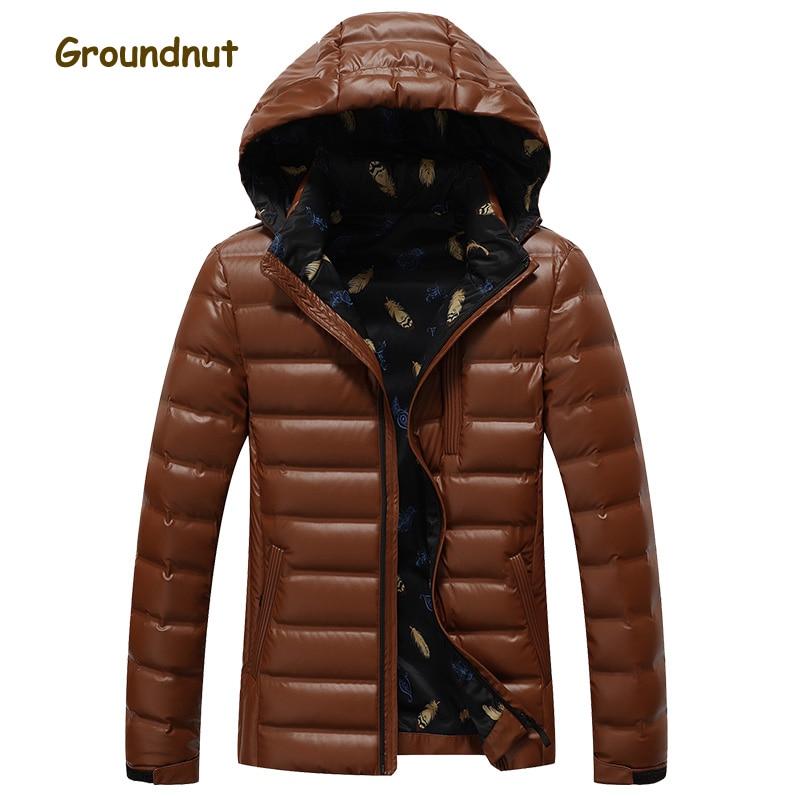 Groundnut New Arrival Cool Style Warm Winter Duck Down Jackets Men Long Sleeve Hooded Down Coats Outerwear Plus Size XXXL 4XL