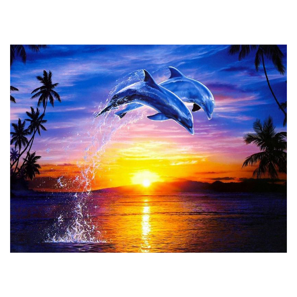 DIY Diamond Painting Mosaic Crafts Beautiful views of the sea dolphin Inlaid Decorative Painting Square Drill Full Embroidery beautiful ocean