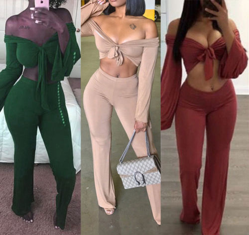 Fashion Women Two Piece Set Long Sleeve Crop Top Blouse+Long Pant Sexy V-Neck Lace Up Tops High Waist Legging Summer Clothing