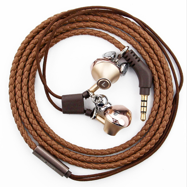 Urizons Wired earphones With Microphone Coffee PU Leather Braided ...