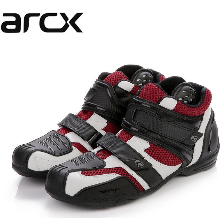 Горячие продаж Новый Arcx дышащий воздухом сетчатый поверхностный кожаная обувь мотоцикл обувь мотоцикл сапоги реальные кожаные сапоги