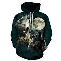 BIANYILONG New Fashion Men Women 3d Hoodies Print Nightfall Trees Designed 3d Sweatshirts Unisex Wolves Hooded