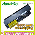 Apexway alta calidad 6600 mah 9 celdas de batería para portátil lenovo t61 r61 para thinkpad r400 7443 t400 42t5264 42t5262 2765