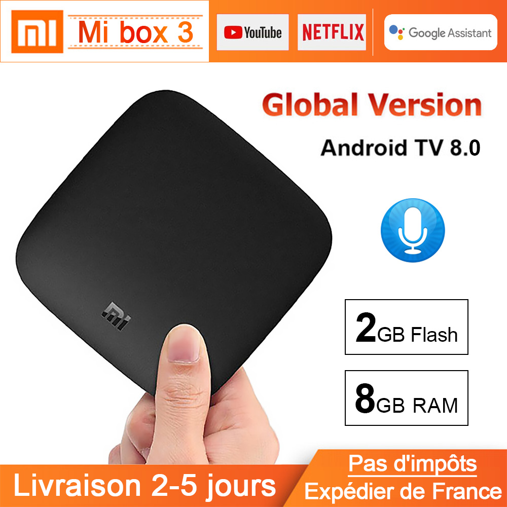 Xiao mi BOX 3 Android TV 8.0 Smart WIFI Bluetooth 4K HDR H.265 décodeur TV Youtube Netflix DTS Xiao mi lecteur multimédia