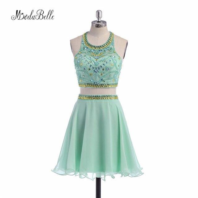 ce100b7042a modabelle A Line Beaded Halter Homecoming Dress 2017 Sage Green Chiffon 2  Piece Short Prom Dress Sexy Vestidos Graduacion