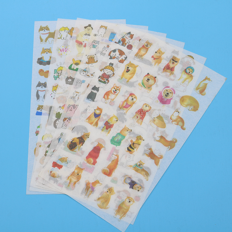 6pc / Bag, Cute Japanese Pet Dog Shiba Inu Pvc Transparent Korea Sticker Children Decorative Cartoon Handbook Scrapbook Sticker