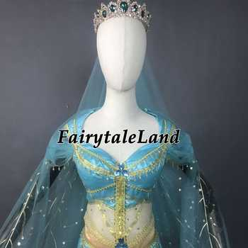 2019 Movie Aladdin Jasmine Cosplay Costume Adult Halloween Princess Costume Peacock Decoration Belly Dance Top Pants with Veil
