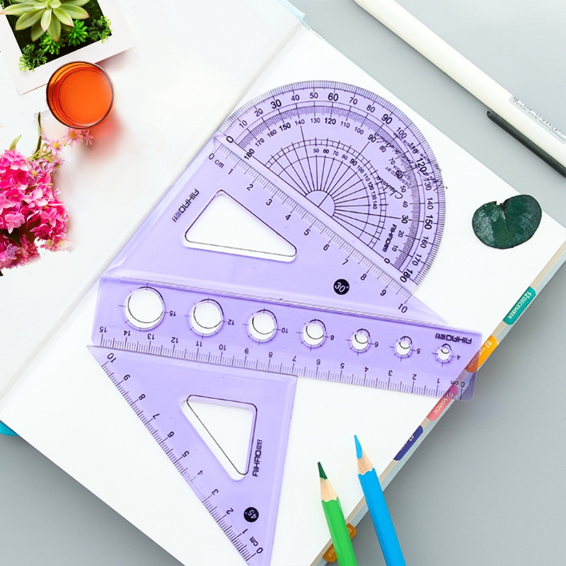 4 Pcs/Set Straight Ruler Protractor Ruler Stationery Set School Office Supplies New Design