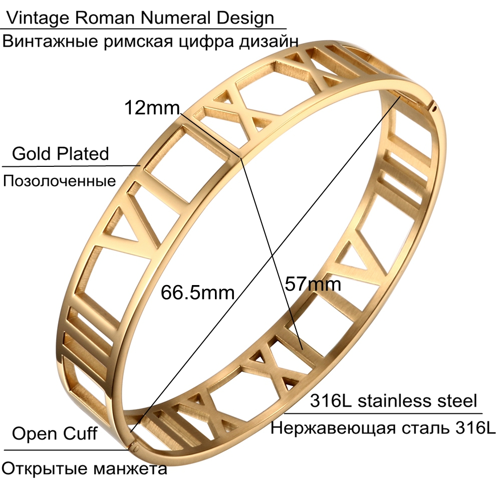 JOVO New Fashion 316L Stainless Steel Bracelets for Women Roman Number Design Wide Cuff Bracelets & Bangle Female Wedding Gift 2