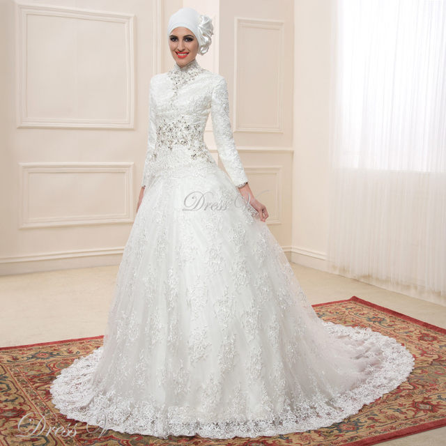Online Shop Lace Ball Gown Long Sleeve Muslim Wedding Dresses Hijab ...