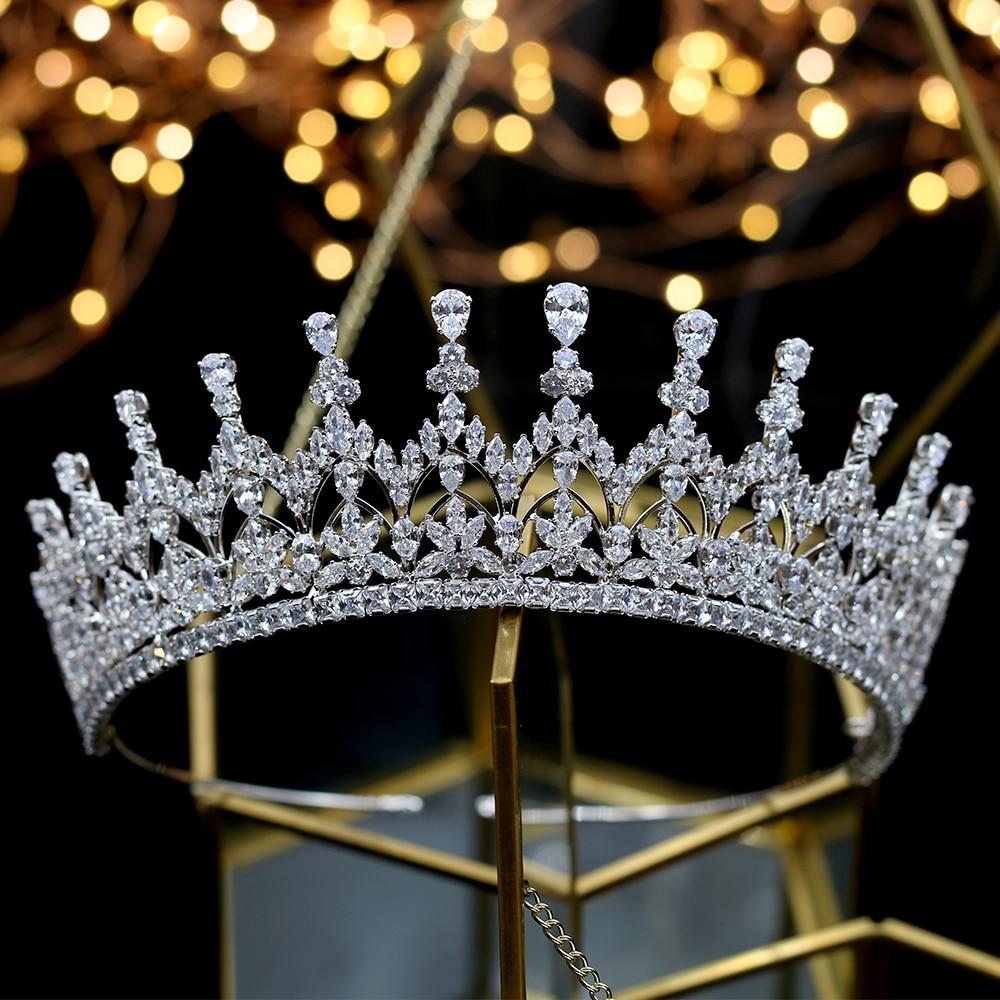 Alta calidad circonio cubico romantico nupcial flor tocado corona dama de honor de boda accesorios para el cabello joyeria-ใน เครื่องประดับผม จาก อัญมณีและเครื่องประดับ บน   2