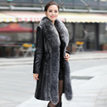 2016 Women's Genuine Sheepskin Leather Suede Down Parkas Coat Jacket with Fox Fur Collar Female Outerwear Coats Plus Size VK1097