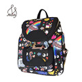 Preppy Style Graffiti Animal Prints Cartoon Printing Leather Small Backpack Women Mochila Satchels School Channels Bag Travel