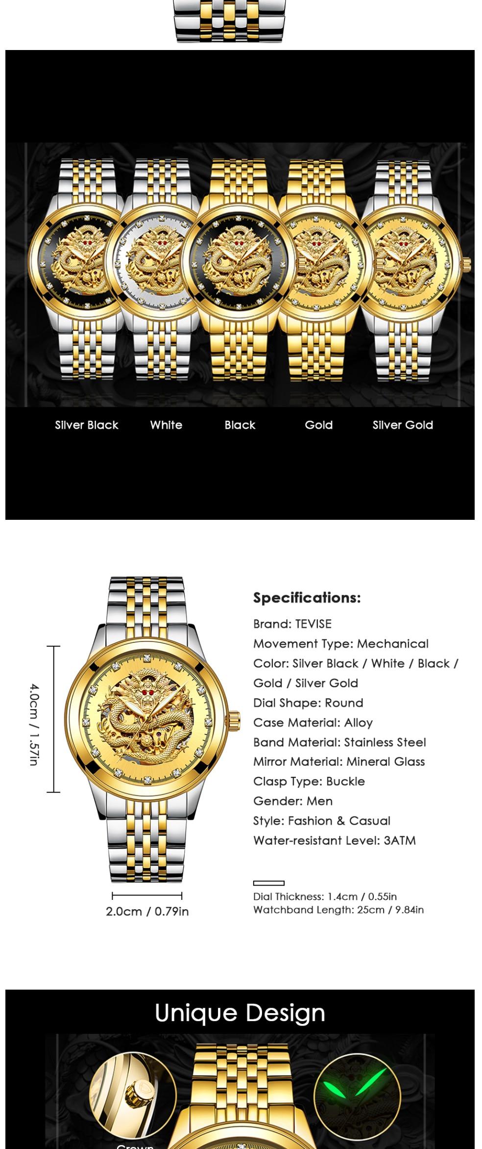 HTB1UwUbgAzoK1RjSZFlq6yi4VXah TEVISE Men Mechanical Watch Luxurious Automatic Winding Watches Waterproof Skeleton Hollow Gold Dragon Clock Relogio Masculino