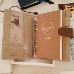 CAGIE a6 Binder Spiral Notebook Kawaii Printing Cover Diary Planner Leather Journal Filofax Agenda Notebook for School Supplies