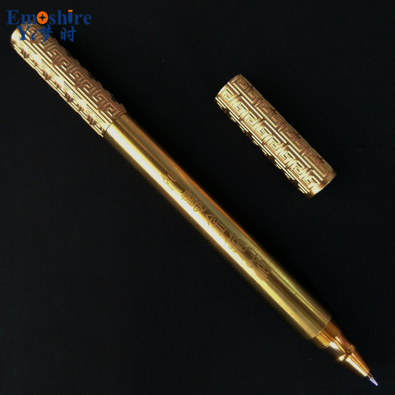 Emoshire Retro Handmade Brass Pen Unique Design Fashion Gift Metal Gift Pen Luxury Gold Ballpoint Pen for Business Man P338 стоимость