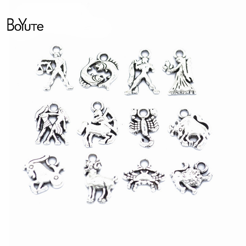BoYuTe (12 Pieces/Set) Metal Alloy Antique Silver Zodiac Signs Charms Pendant Diy Hand Made Jewelry Accessories Wholesale image