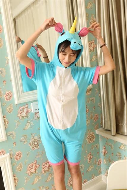 413821e9c814 Little Pony Animals Unicorn Cosplay Costume Summer Jumpsuit Short Sleeve  Cartoon Pajamas Pyjamas Onesie Women Children Sleepwear