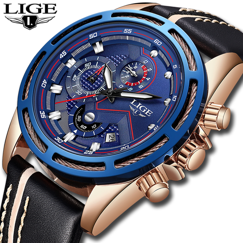 все цены на LIGE Watch Men Fashion Sport Quartz Clock Leather Mens Watches Top Brand Luxury Gold Waterproof Business Watch Relogio Masculino онлайн