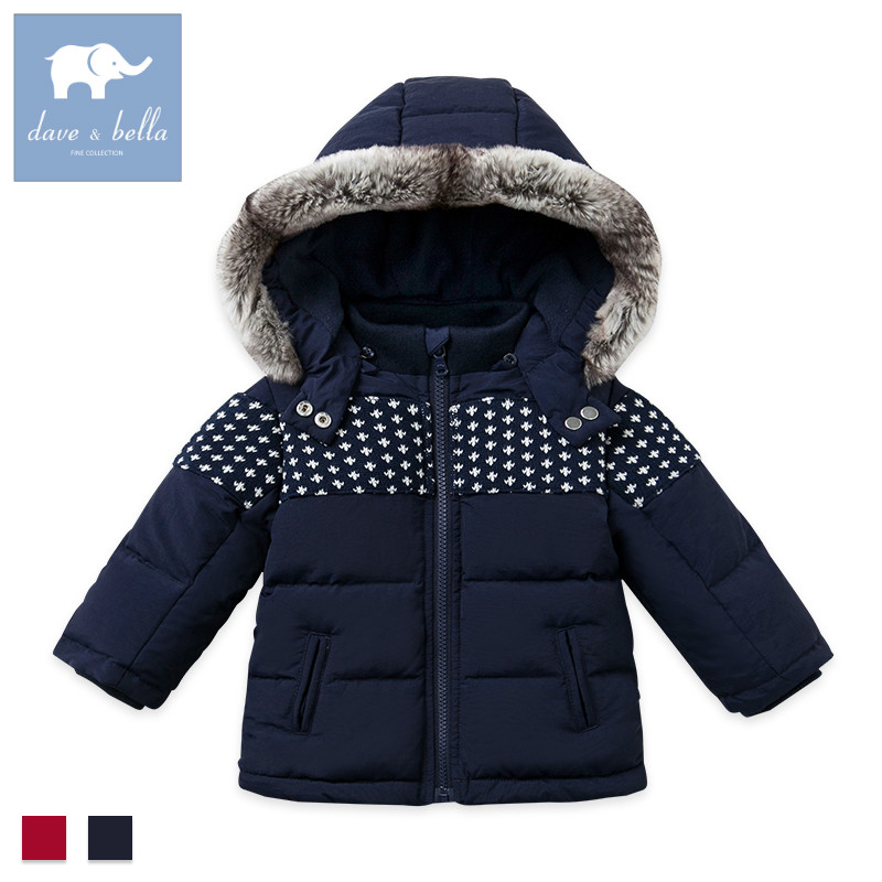 DB2839 dave bella winter infant baby boys down jacket children white duck down padded coat kids hooded outerwear