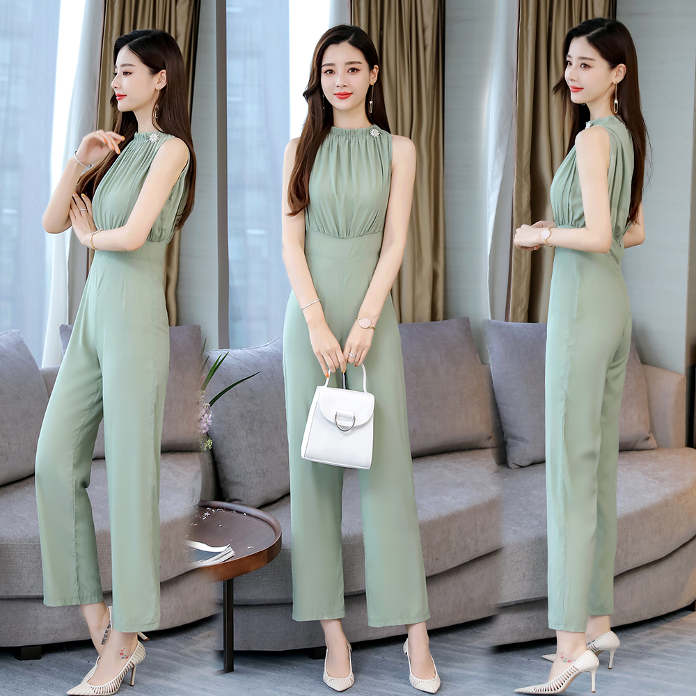 Summer long Jumpsuits 2019 new elegant solid color Long Rompers Trousers Women jumpsuits