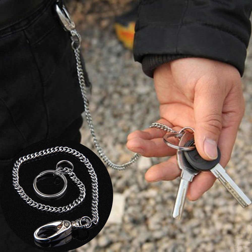 Metal longo carteira cinto de corrente rock punk calças hipster calça jean chaveiro anel de prata clipe chaveiro masculino hiphop jóias