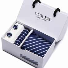 Navy Paisley striped Necktie Set Cufflink Hanky Clips Mans Formal Ties Business Wedding Holiday lota 1200 Needles gift box pack