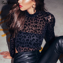 High Neck Sexy Leopard Print Mesh See Through Long Slim Hips Sleeve Suit