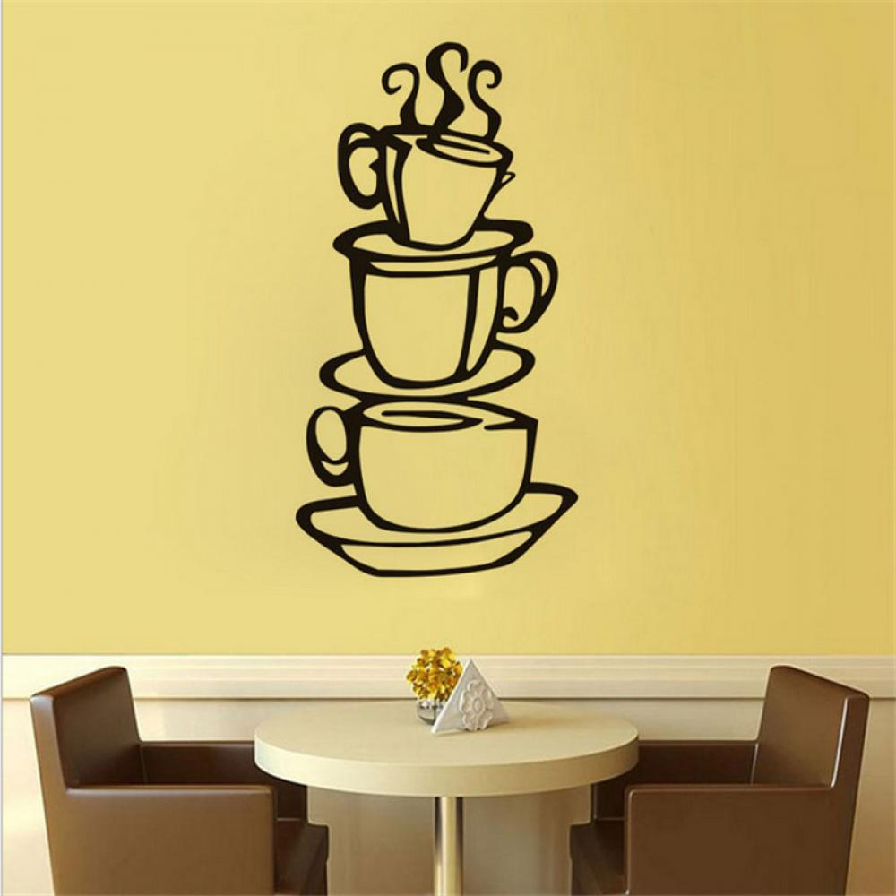 3 coffee cups creative wall decal removable vinyl wall sticker DIY ...
