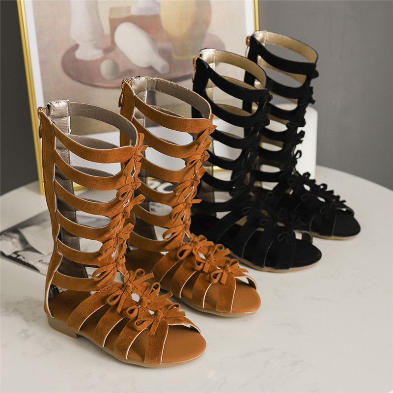 New Summer Girls Gladiator Sandals for Children High-top Roman Shoes Kids Open Toe Sandals Soft Bottom Scrub Leather Casual BootNew Summer Girls Gladiator Sandals for Children High-top Roman Shoes Kids Open Toe Sandals Soft Bottom Scrub Leather Casual Boot