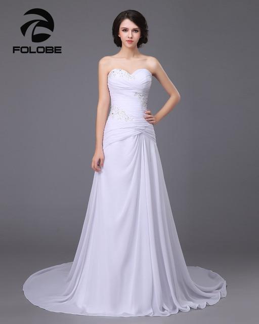 2017 Stock Vestido De Noiva White/Ivory Chiffon Applique Lace Beach Wedding Dress Robe De Mariage Bridal Gown