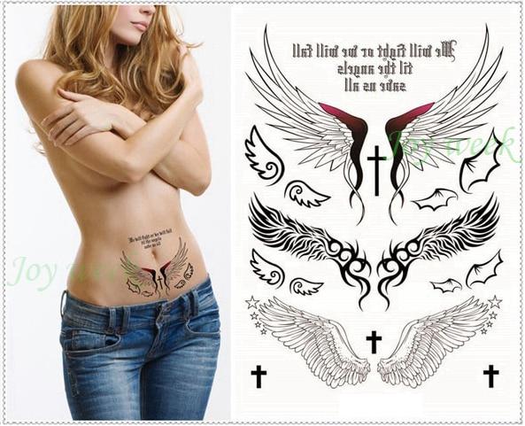 Waterproof Temporary Tattoo Sticker body art waist angel wing wings tatto stickers flash tatoo fake tattoos for girl women 7