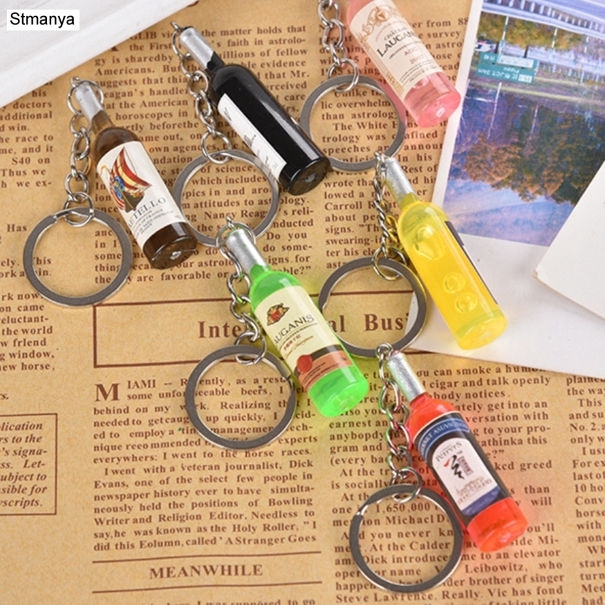 New Wine Bottle Key Chain Mini Car Kry Ring Gift Keychain Bag Charm Accessories New Key Holder Party Jewelry
