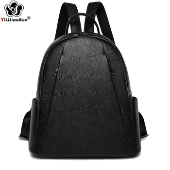 Casual Ladies Backpack Travel Genuine Leather Backpack Women Large Capacity School Bags For Girls Simple Back Pack Mochila joyir women backpack genuine leather fashion travel backpack mochilas school leather shopping travel bags schoolbags for girls