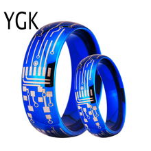 YGK JEWELRY Blue-Color Wedding Rings Lover's Tungsten Carbide Romantic Ring Engagement Jewelry Circuit Board Ring for Couples