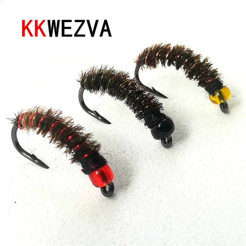 KKWEZVA 24PCS Peacock Feather Stained Glass Bead Head Nymph Scud Midge Fly Fishing Flies for Fly Trout Fishing Lures insect Bait