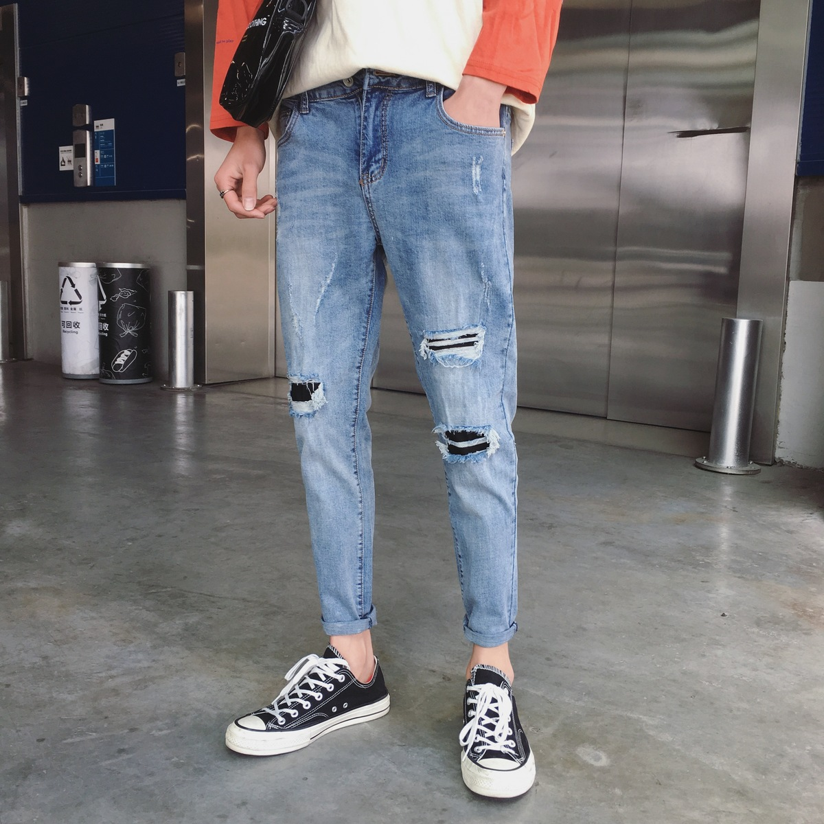 2018 New Korean Men Fashion Casual Classic Blue Color Holes Ankle-length Denim Pants Tide Stretch Slim Fit Jeans Homme Trousers