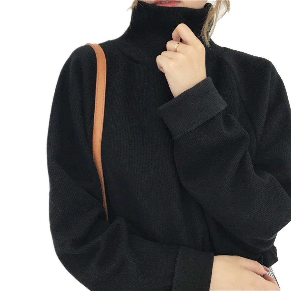 Pull décontracté lâche femmes col roulé tricoté hauts automne manches chauve-souris pulls au crochet noir femme vêtements blanc chandails