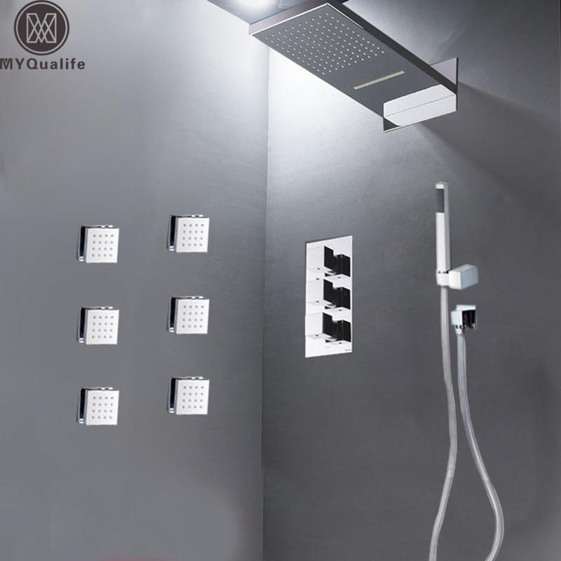 Modern Bathroom Rain Waterfall Shower Set Thermostatic Mixer Valve 4-ways Bath Shower Mixer Tap Brass Body SPA Massage Jets цена 2017
