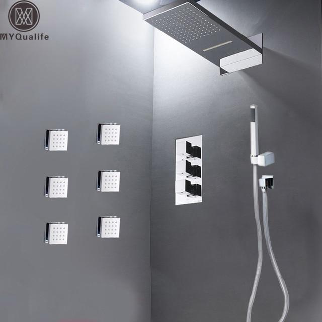 Moderne Badezimmer Regen Wasserfall Dusche Set Thermostat Ventil  4 Möglichkeiten Bad Dusche Mischbatterie Messing Körper