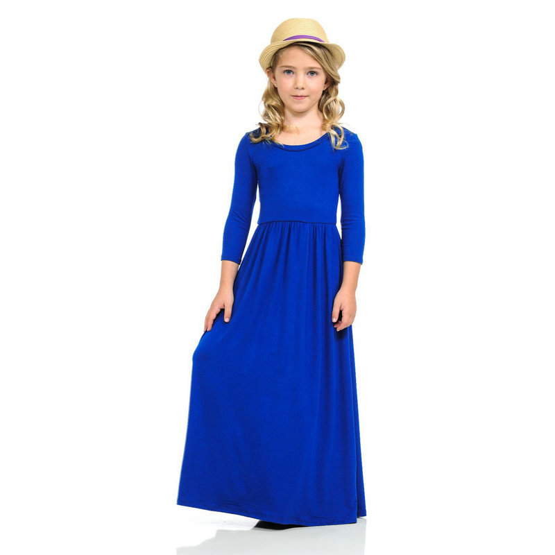 Aggressive Fashion Holiday Kids Designers Party Wear Toddler Teenage Girls Clothes 2 To 11 Years Girl Party Dress Blue
